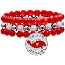 Chubby Mermaids Manatee Charm Red Beaded Bracelet Set