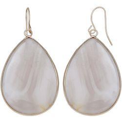 Milli Lt Grey Glass Agate Teardrop Earrings
