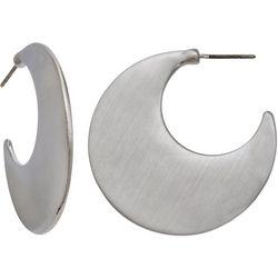 Milli 34MM Flat Brushed Silver Tone Hoop Earrings