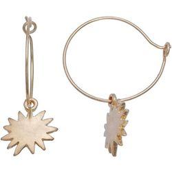 Milli Thin Wire Hoop Starburst Earrings