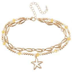 2 Row Cowrie Chain & Starfish Anklet