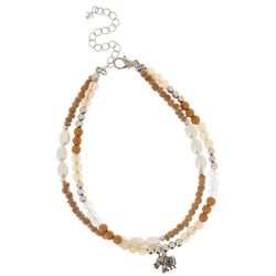 2 Row Bead & Pearl Elephant Ankle Bracelet