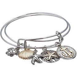 Jules B 2-pc. Anchor & Sea Turtle Bangle Bracelet Set
