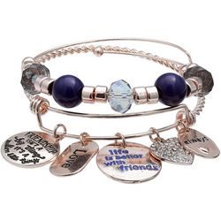 Jules B 2-pc. Beads & Friendship Charms Bangle Bracelet Set