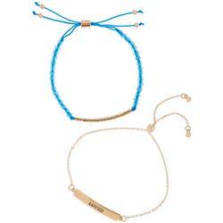 I Love You Mom 2 Pc Adjustable Bracelet Set