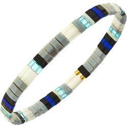Canvas Grey Multi Tila Glass Beads Bracelet