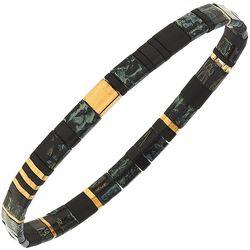 Canvas Black Grey Tila Glass Beads Stretch Bracelet