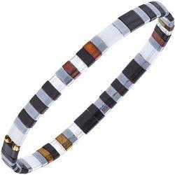 Canvas Black Multi Tila Glass Beads Bracelet