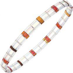 Canvas White Multi Tila Glass Beads Stretch Bracelet