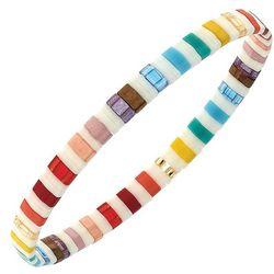 White Rainbow Tila Glass Beads Stretch Bracelet