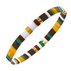Canvas Yellow Multi Tila Glass Beads Stretch Bracelet