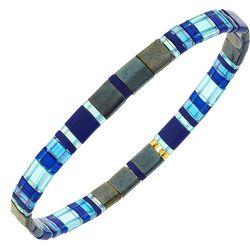 Canvas Clear Blue Multi Tila Glass Beads Bracelet