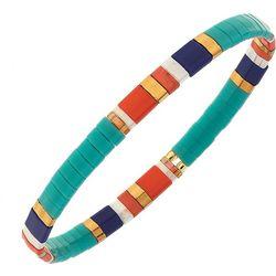 Canvas Turquoise Blue Tila Glass Beads Stretch Bracelet