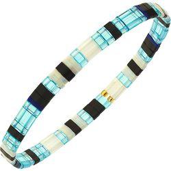 Canvas Light Blue Black Tila Glass Beads Bracelet