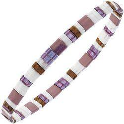 Canvas Purple Multi Tila Glass Beads Bracelet