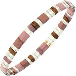 Canvas Pink Multi Tila Glass Beads Stretch Bracelet
