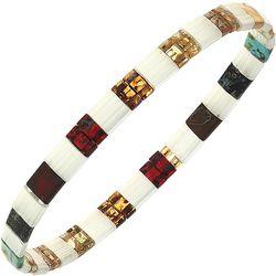Canvas White Gold Tone Tila Glass Beads Stretch Bracelet