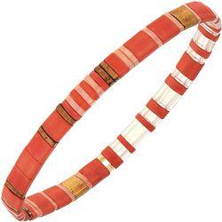Canvas Coral Orange Multi Tila Glass Beads Stretch Bracelet