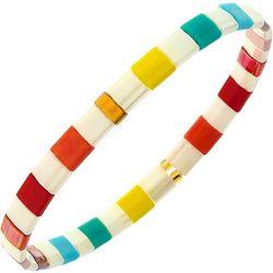 Canvas Rainbow Tila Glass Beads Stretch Bracelet