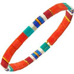 Canvas Orange Multi Tila Glass Beads Stretch Bracelet