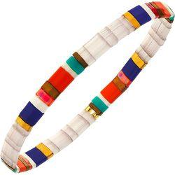 Canvas Multi White Tila Glass Beads Stretch Bracelet