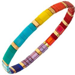 Canvas Rainbow Multi Tila Glass Beads Stretch Bracelet