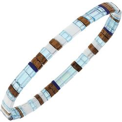 Canvas Light Blue Multi Tila Glass Beads Stretch Bracelet