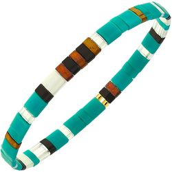 Canvas Turquoise Blue Multi Tila Glass Beads Bracelet