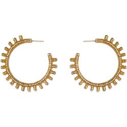 Bay Studio Gold-Tone Spiked C Hoop Post Earrings