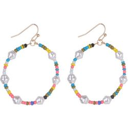 Bay Studio Colorful Beaded Hoop Drop Earrings