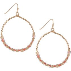 Bay Studio Coral & Gold Tone Hoop Drop Earrings