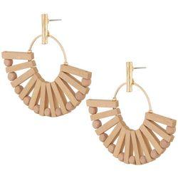 Bay Studio Post Top Wood Fan Earrings