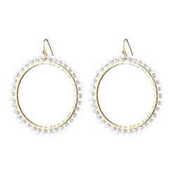 Nicole Miller New York White Bead Ring Earrings