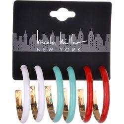 Nicole Miller New York Enamel Hoop Trio Earrings