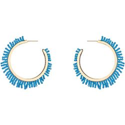 Nicole Miller NY Seedbead Fringe Hoop Earrings