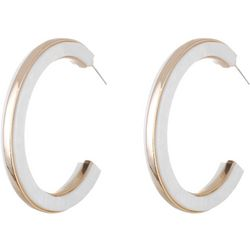Bay Studio White Shell Gold Tone Hoop Earrings