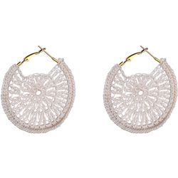 Bay Studio White Crochet Hoop Earrings