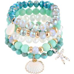 Multi Row Aqua Shell Stretch Bracelets