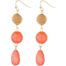 Jones New York Triple Bead Peach Teardrop Earrings