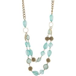 Jones New York Aqua Multi Beaded Two Row Necklace