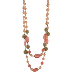 Jones New York Coral Beaded Double Row Necklace