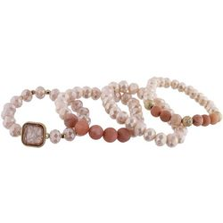 Jones New York 4 Rw Pink Multi Beaded Bracelet Set
