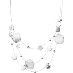Jones NY Hammered Metal Disc Illusion Necklace