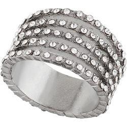 Jones New York Wide Silver Tone Rhinestone Ring