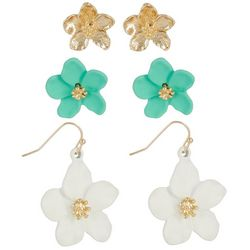 Nicole Miller New York 3 Pr White Flower Earring S