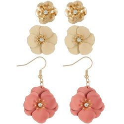Nicole Miller NY Flower & Rhinestone Trio Earrings