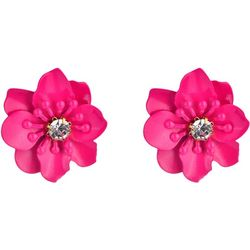 Nicole Miller New York Pink Flower Faux Leather  Earrings
