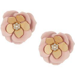 Nicole Miller New York Pink Flower Stud Earrings