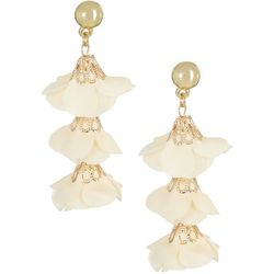 Nicole Miller New York Fabric Flower Drop Earrings