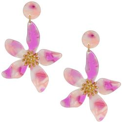 Nicole Miller New York Resin Flower Drop Earrings
